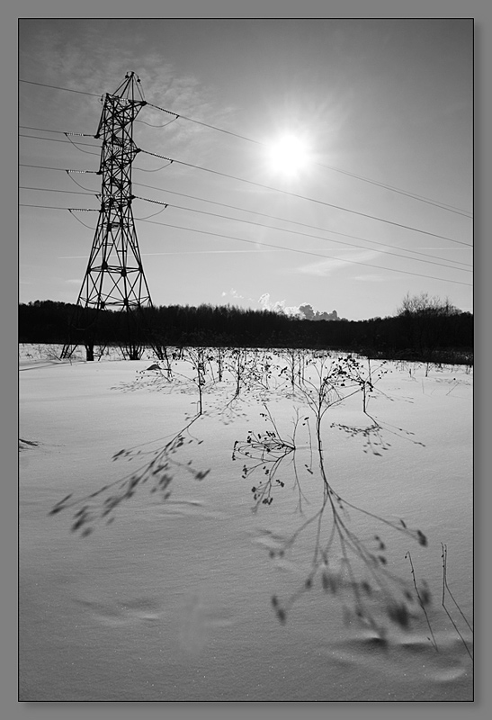"photo ""About light and shadows"" tags: landscape, black&white, winter"