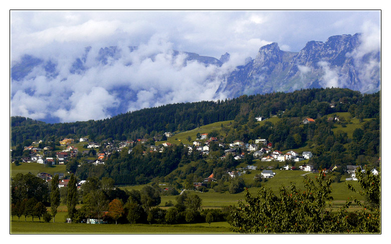 "photo ""village in the alps"" tags: landscape, mountains"