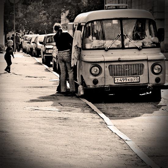 "photo ""home on wheels"" tags: genre, black&white,"