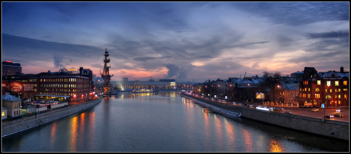 "photo ""Winter evening in Moscow"" tags: architecture, panoramic, landscape,"