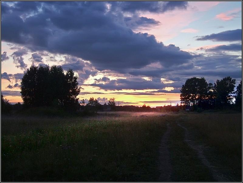 """фото """"Вечерний туман"""" метки: пейзаж, закат"""