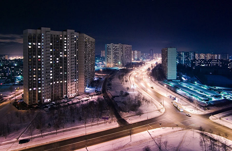 "photo ""Moscow. Litowsky boulevard"" tags: architecture, landscape, night"