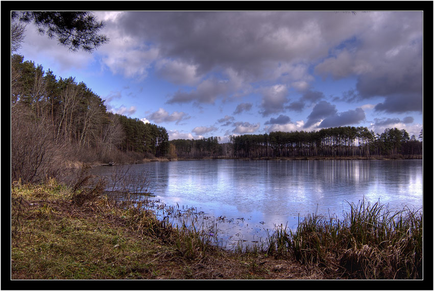 "photo ""at the lake"" tags: landscape, water, winter"