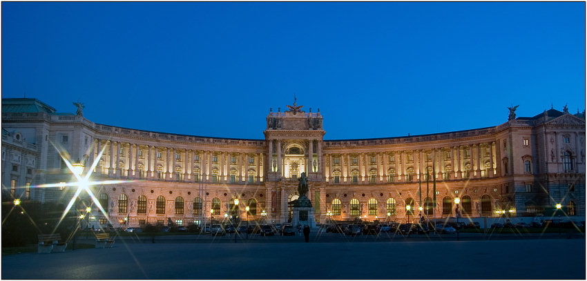 "photo ""Hofburg lights fires"" tags: architecture, landscape, night"