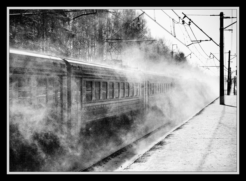 "photo ""Train-phantom"" tags: landscape, black&white,"