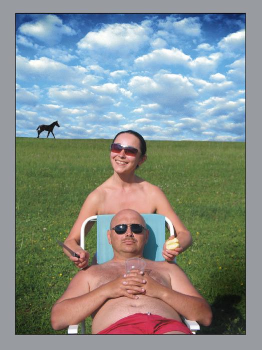 """фото """"автопортрет с женой и конькой :))"""" метки: портрет,"""