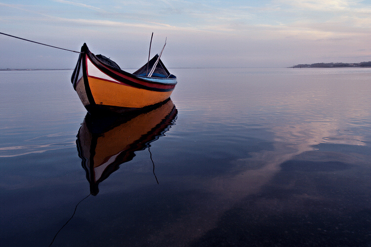 "photo ""Boat at dusk"" tags: landscape, sunset, water"