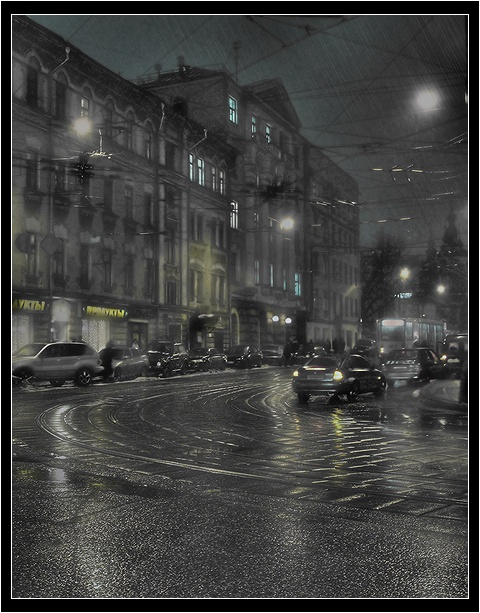 "photo ""night lane"" tags: architecture, landscape, night"