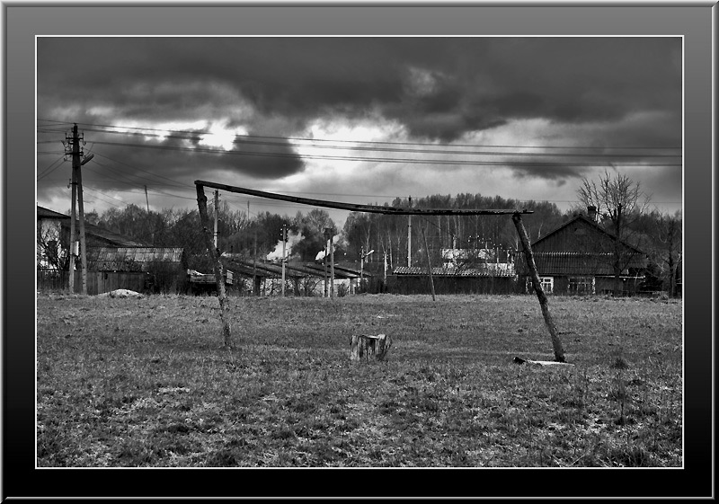 "photo ""About Russian football"" tags: black&white, landscape,"
