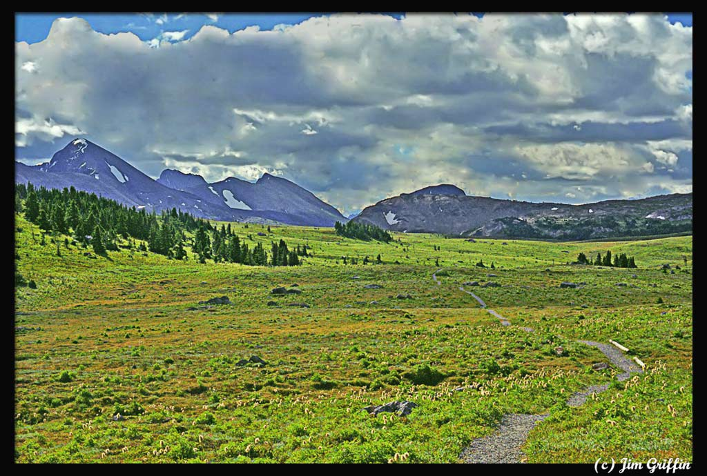"photo ""Our hike in Sunshine Meadows continues"" tags: landscape, mountains, summer"