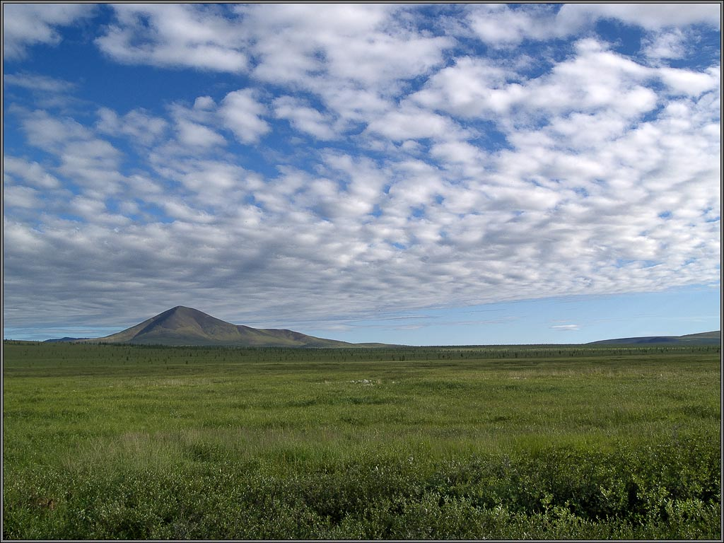"photo ""Simple tundra landscape with sky and alone mountain"" tags: landscape, mountains, summer"