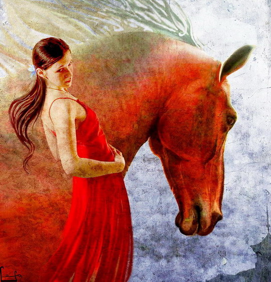"photo ""a self-portrait with my horse"" tags: montage,"