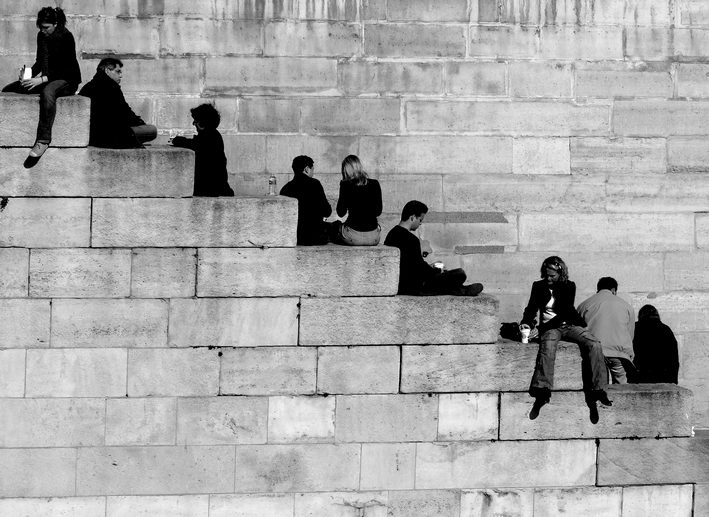 "photo ""Human ladder"" tags: black&white,"