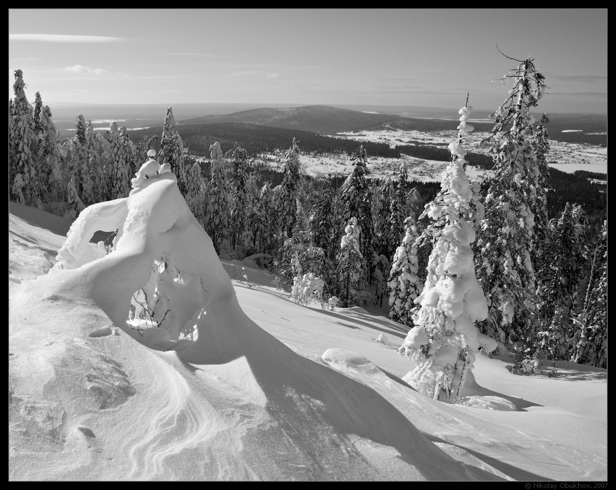 """photo """"Belaya Mt / 167_0079bw"""" tags: landscape, mountains, winter"""
