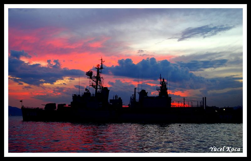 "photo ""Warship at sunset"" tags: landscape, sunset"