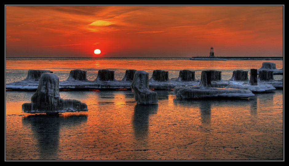 "photo ""Sunrise on the Lake Michigan"" tags: landscape, travel, North America, sunset"