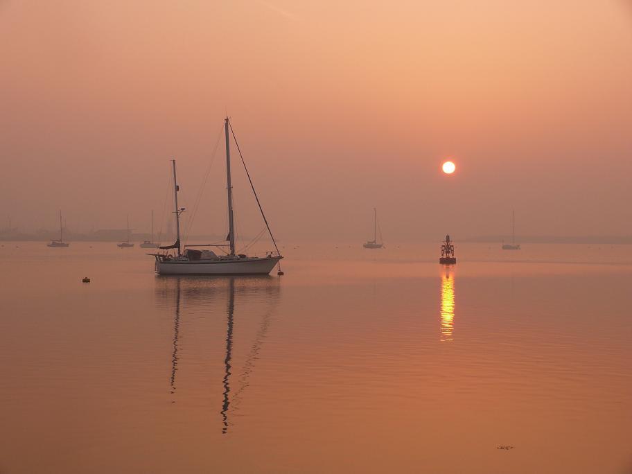 """photo """"Foggy morning sunrise"""" tags: landscape, sunset"""