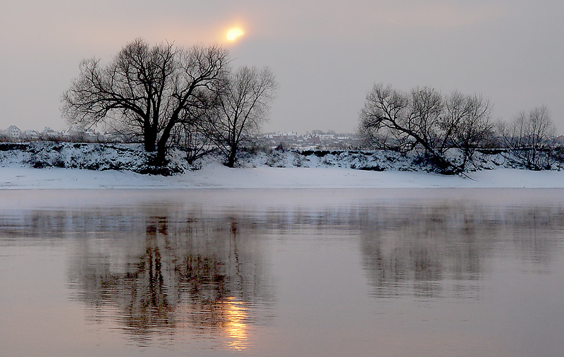 "фото ""Еще один вечер."" метки: пейзаж, вода, зима"