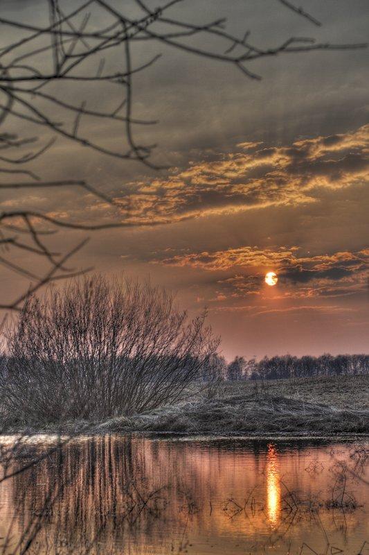 """фото """"Закатный HDR"""" метки: пейзаж, закат, облака"""