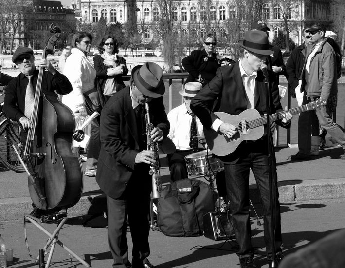 """photo """"Jazz-band"""" tags: reporting, black&white,"""