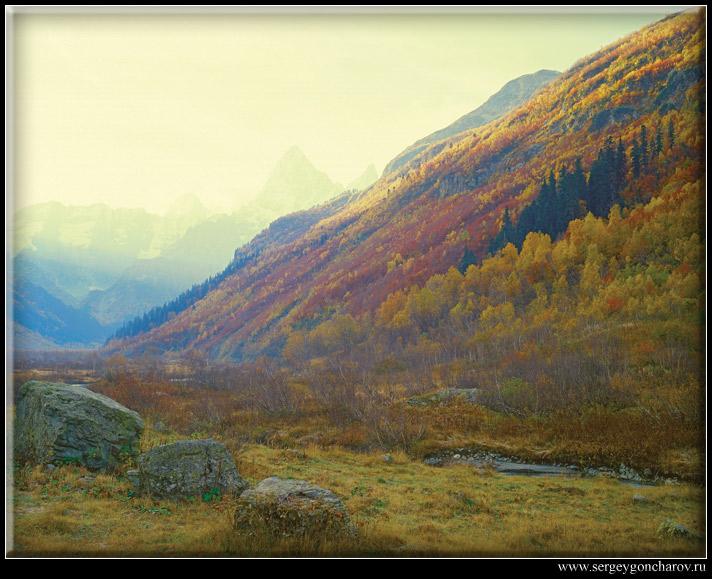 """фото """"Восходящее солнце освещает вершины гор"""" метки: пейзаж, горы, закат"""