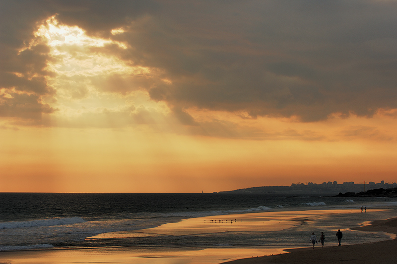 "photo ""Sunset in Carcavelos beach"" tags: landscape, portrait, sunset, woman"