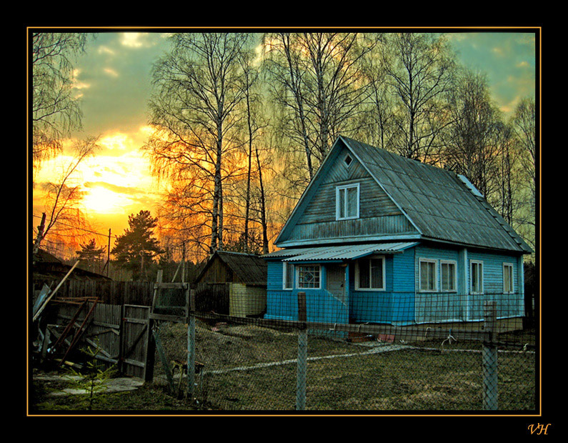 "photo ""Evening at village"" tags: landscape, spring, sunset"