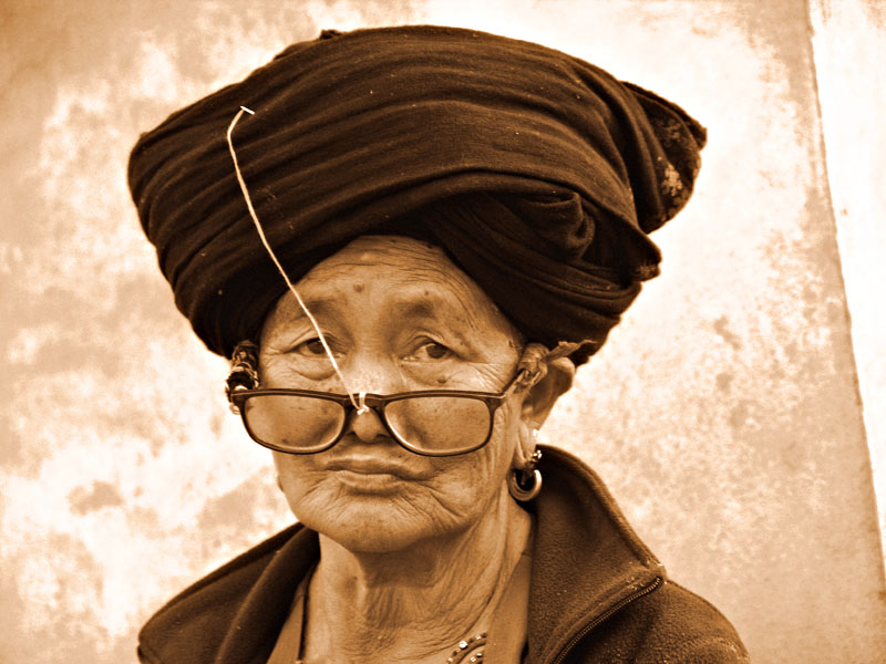 "photo ""A Yao Hill Tribe woman, Muang Sing 2007 (Sepia tone)"" tags: portrait, travel, Asia, woman"