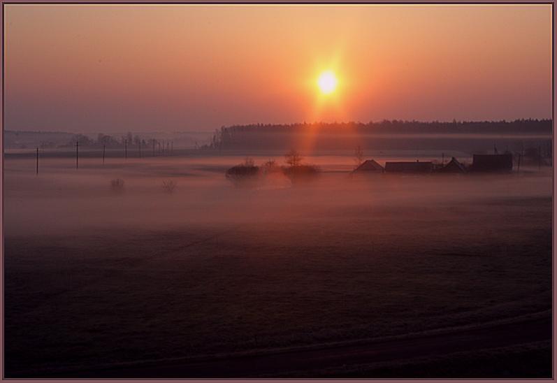 "photo ""Fog morning"" tags: landscape, spring, sunset"