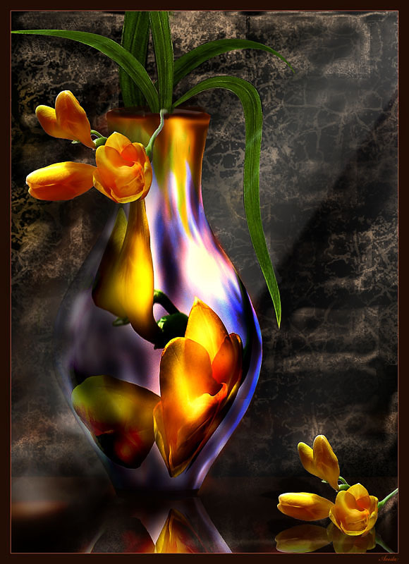 """photo """"Still life with pitcher from floweres"""" tags: montage, still life,"""
