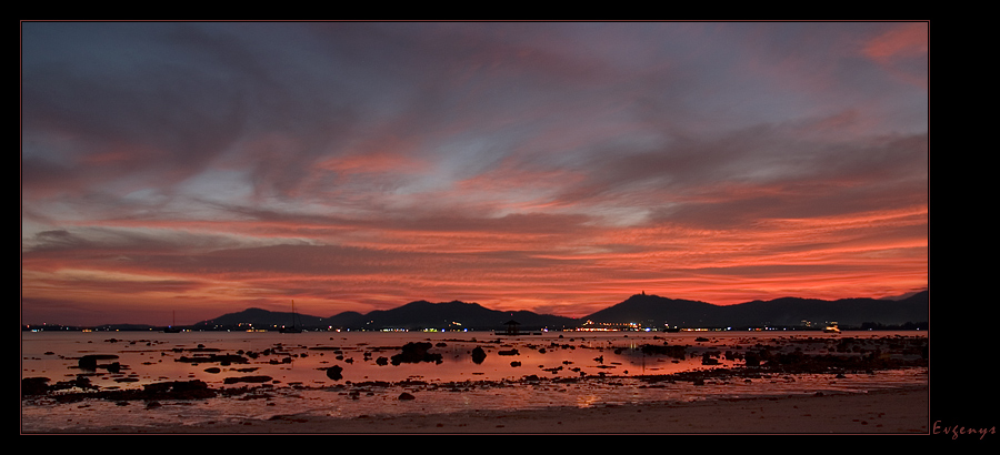 "photo ""... when the red sunset merged into darkness"" tags: landscape, travel, Asia, sunset"