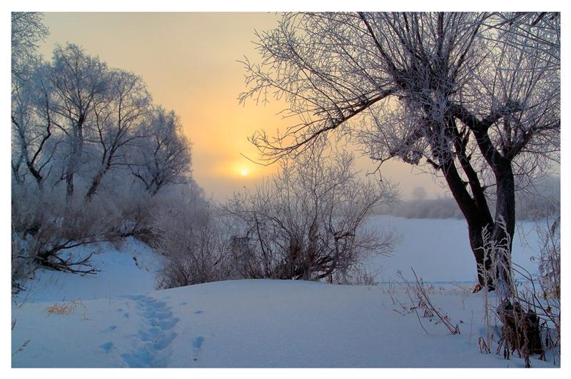 """фото """"Рассвет над замерзшей рекой"""" метки: пейзаж, закат, зима"""