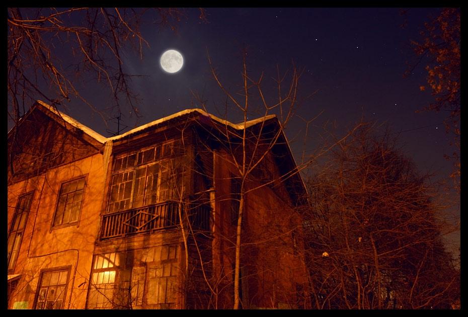 """фото """"Старый дом"""" метки: архитектура, пейзаж, ночь"""