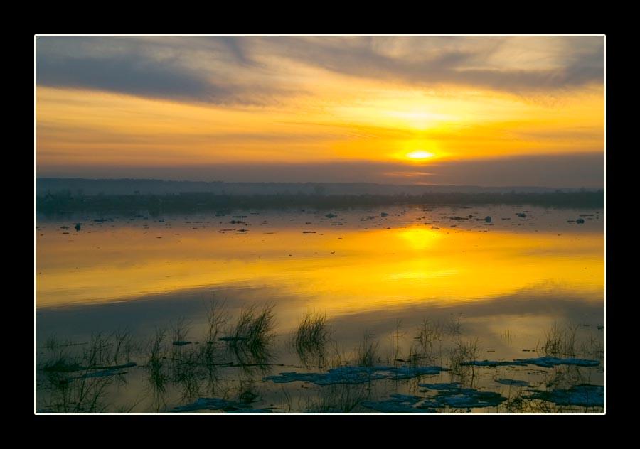 """фото """"Ледоход прошел"""" метки: пейзаж, вода, закат"""