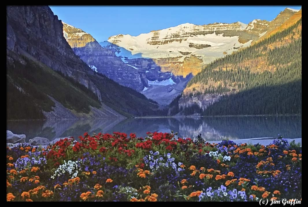 """photo """"Lake Louise at sunrise."""" tags: landscape, mountains, water"""