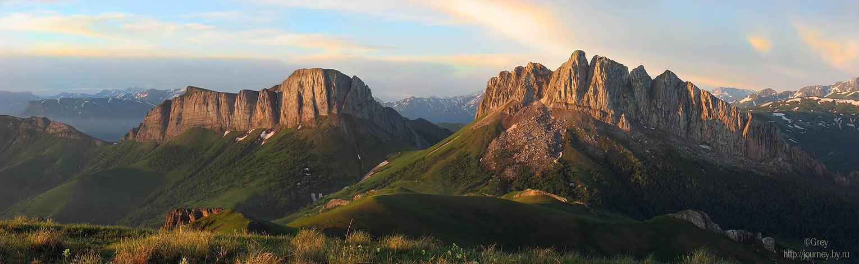 """фото """"Рассвет на Ачешбоках"""" метки: пейзаж, панорама, горы"""