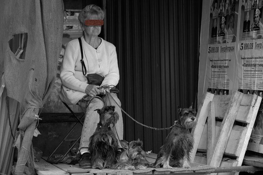 """фото """"Дама с собачками"""" метки: черно-белые,"""