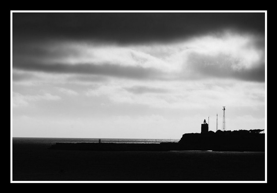 "фото ""Leuchtturm"" метки: пейзаж, черно-белые, закат"