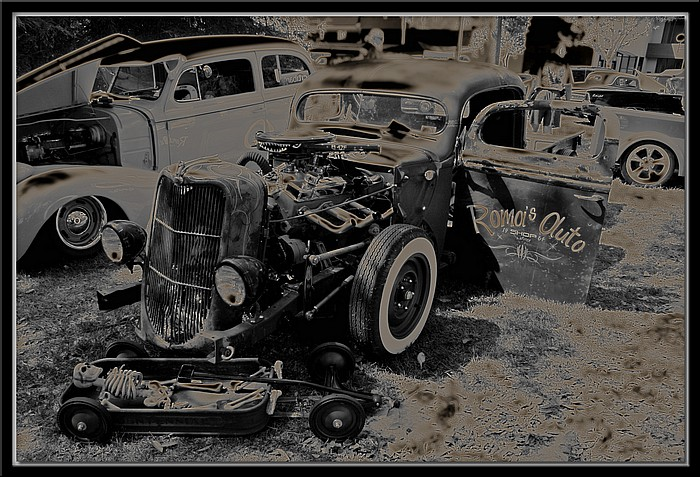 "photo ""Rat Rod Graveyard"" tags: reporting, montage,"