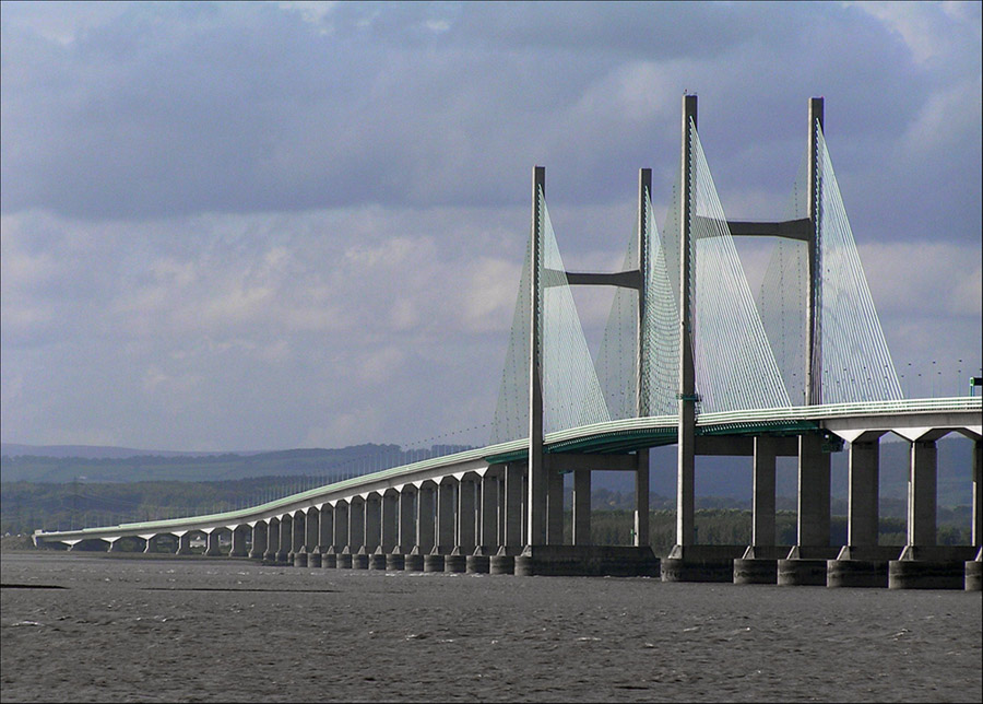 "photo ""Severn bridges."" tags: architecture, travel, landscape, Europe"