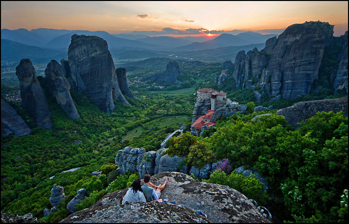 "photo ""Meteora, Sunset"" tags: landscape, mountains, sunset"