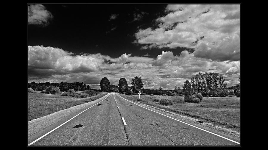 "photo ""Road"" tags: landscape, black&white,"