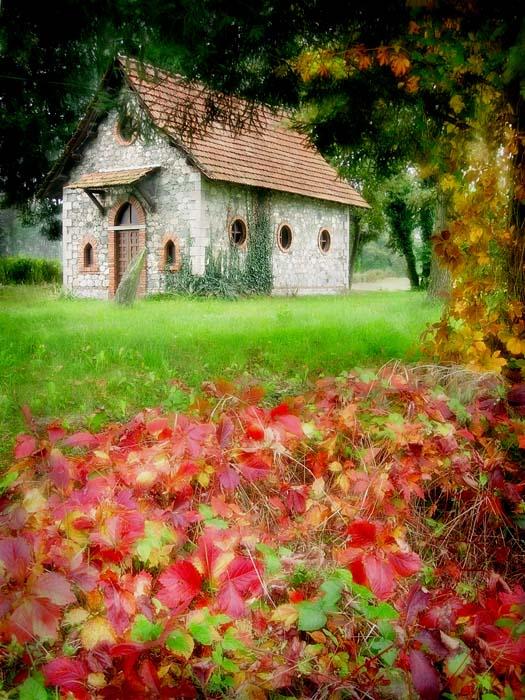"photo ""Autumn church"" tags: landscape, forest"