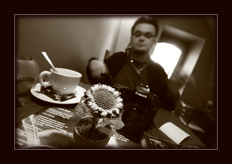 """photo """"Coffee in the afternoon"""" tags: black&white,"""