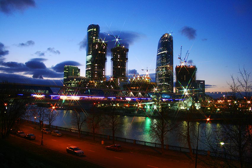 "фото ""Вид на Москва-Сити и мост ""Багратион"""" метки: архитектура, город, пейзаж,"