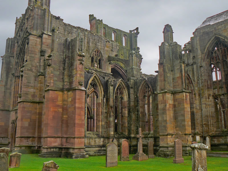 "photo ""Melrose Abbey, Scotland"" tags: architecture, landscape,"