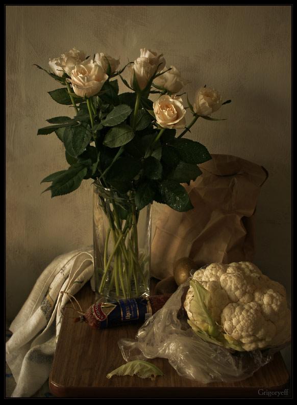 """фото """"Натюрморт с розами и цветной капустой"""" метки: натюрморт,"""
