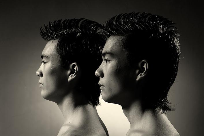 "photo ""Cloned"" tags: portrait, black&white,"
