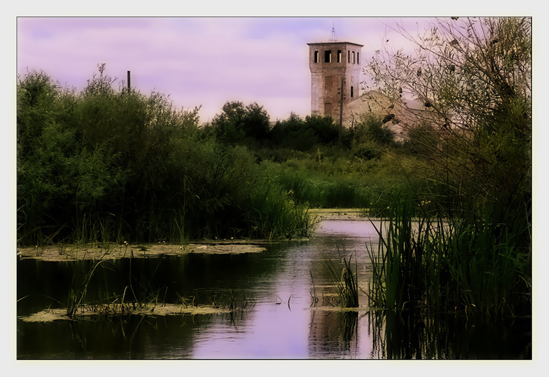 "photo ""Old tower on river Or"" tags: architecture, landscape, water"