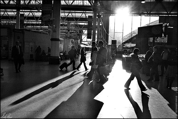 "photo ""London / Waterloo station"" tags: black&white,"